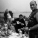 Friday picnic of the Cherepovets metallurgical complex railwaymen on the shore of Sheksna river. Cherepovets, Vologda region / Пятничный пикник на берегу Шексны железнодорожников Череповетского металлургического комбината. Череповец, Вологодская обл.